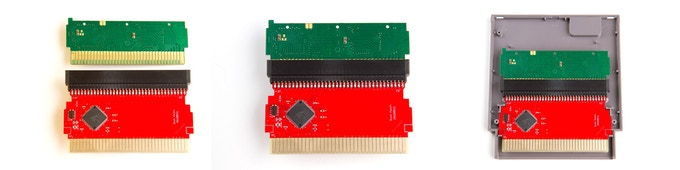 The red Modern Mallard patch board being installed with a green Duck Hunt game board in the game's original cartridge