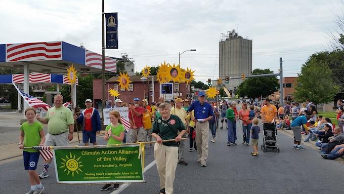 CAAV marching through the streets of Harrisonburg, VA in 2016