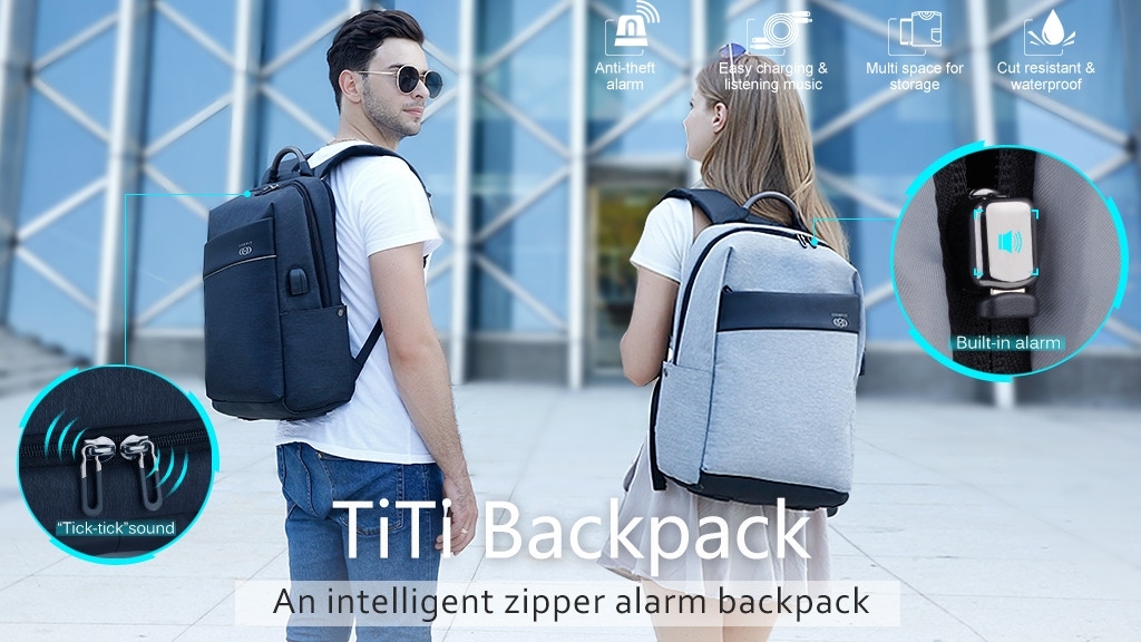 Ti Ti Backpack - An intelligent zipper alarm backpack project video thumbnail