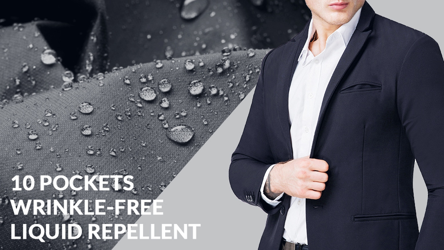 Liquid Repellent | Wrinkle-Free | 4 Way Full-Stretch | Machine Washable | Breathable Blazer with 10 Pockets for Your Daily Essentials