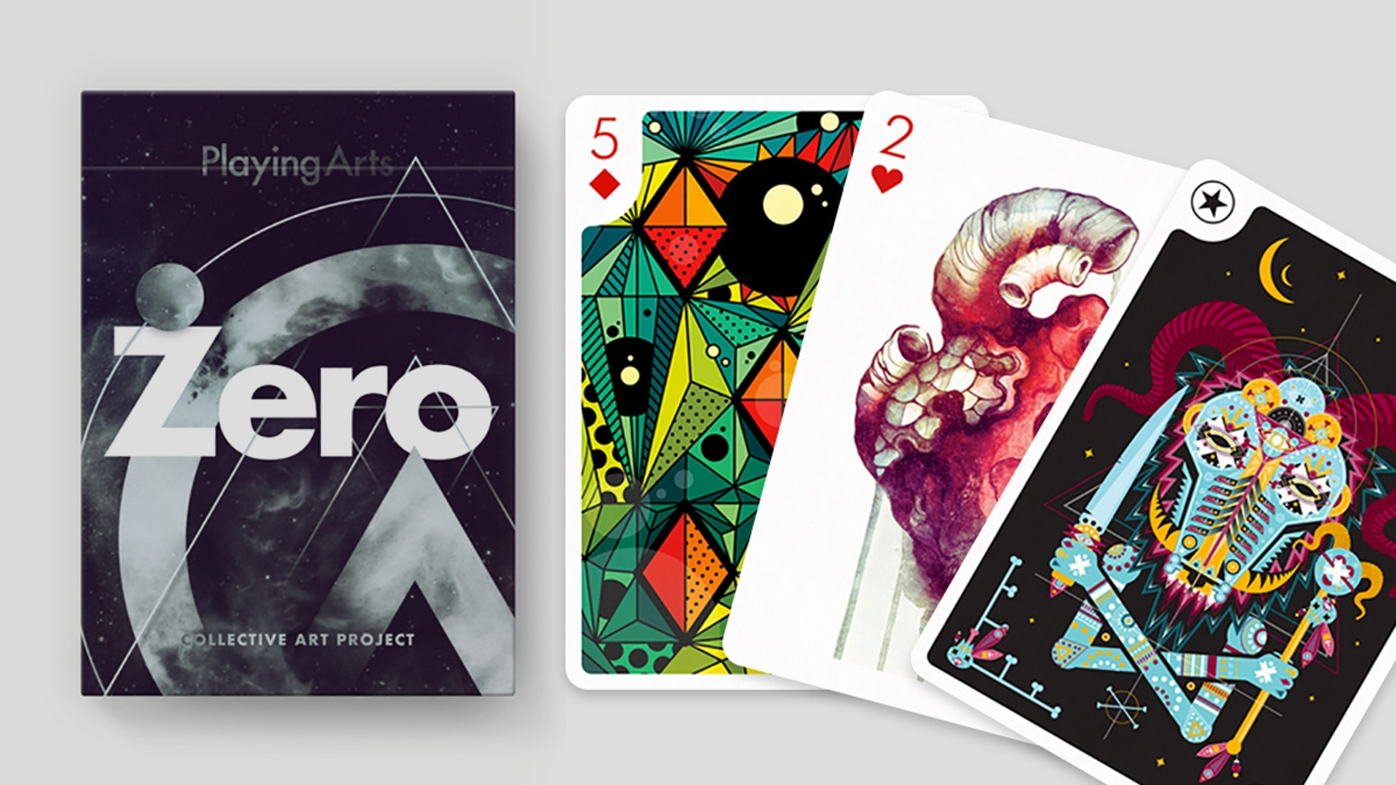 Playing Arts Zero is a deck of playing cards illustrated and animated in Augmented Reality by leading international artists. By USPCC.