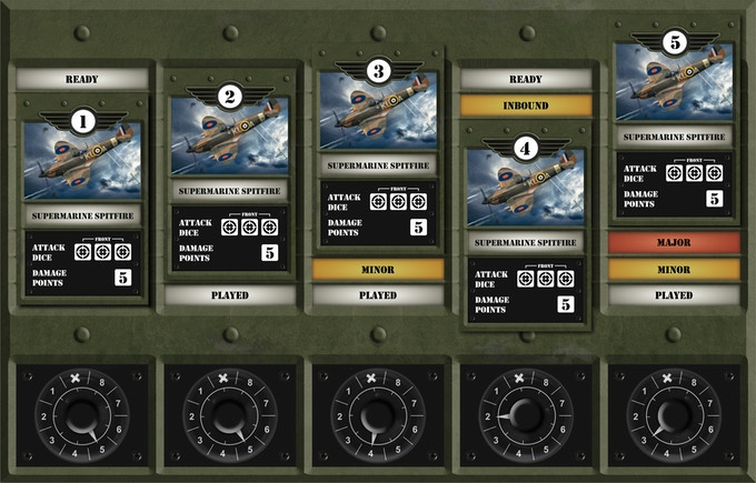 The squadron board shows which planes have been moved, any damage sustained, penalties incurred & also the time remaining before reinforcements can be deployed.