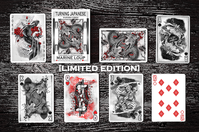 The Turning Japanese Deck is a 60 card deck containing 52 playing cards, 4 Bonus Illustration Cards, 1 Double Backer and 1 unique Gaff Card