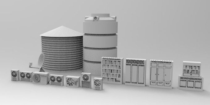 Stuff for modern houses. Different types of watertanks, sat-dishes, dumpsters, different airconditioners, furnitures for a furniture-shop.