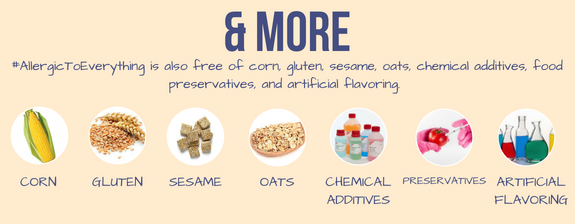 The recipes are always free from corn, gluten, sesame, oats, chemical additives, preservatives, and artificial flavoring!