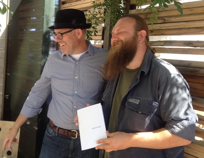 Joey Robert Parks & Igor on delivery of Igor's first book 'dearest void' in the Spring of 2016.