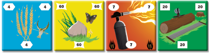 Final draft of four tiles: different symbols to assist colorblind players and enhanced with native NZ flora and fauna.