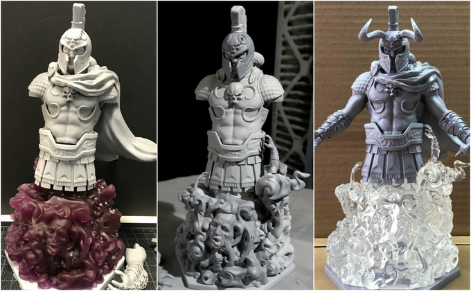 Evolution of our ARES Model Kit (From left to right - 3D Prototype, Tooling Master, Production Sample)