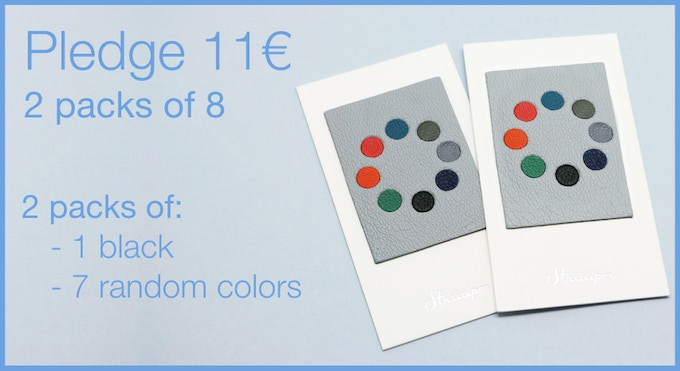 Pledge 11€ - 2 packs of 8 Leather Webcam Covers. 2 black and 14 random colors