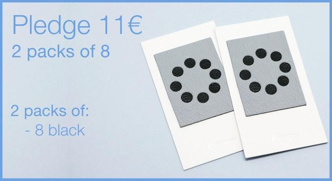 Pledge 11€ - 2 packs of 8 Leather Webcam Covers. 16 black