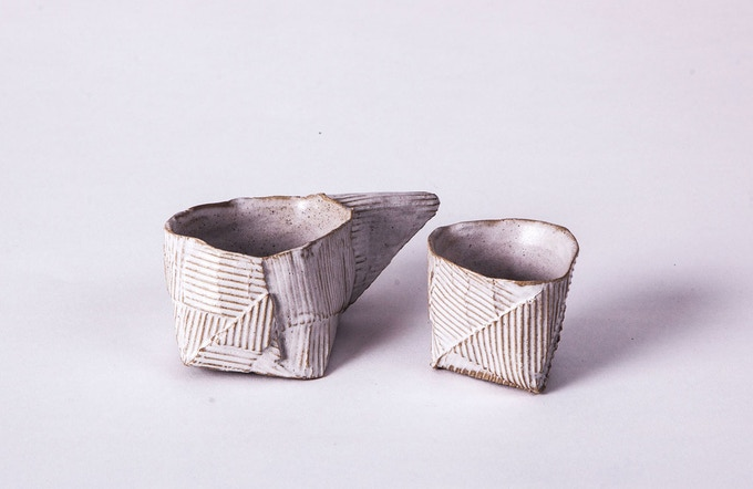 Cardboard Ceramics - formed by folding, gluing, pressing, and roasting