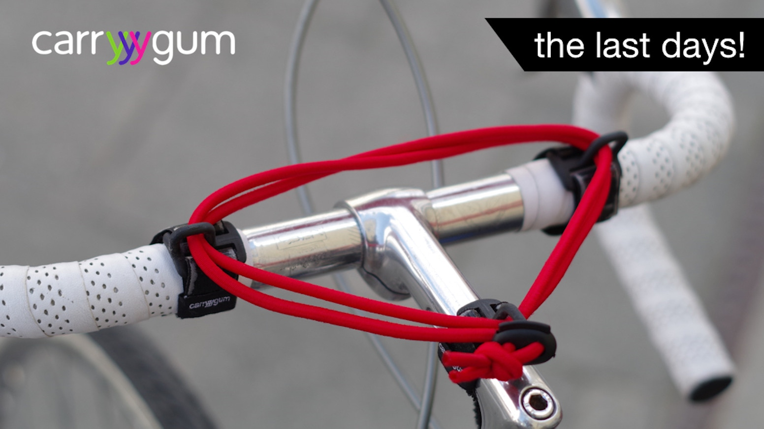 carryyygum safely secures smaller items like clothes, books, paper, handbags, parcels, lunchboxes etc. to the handlebar.