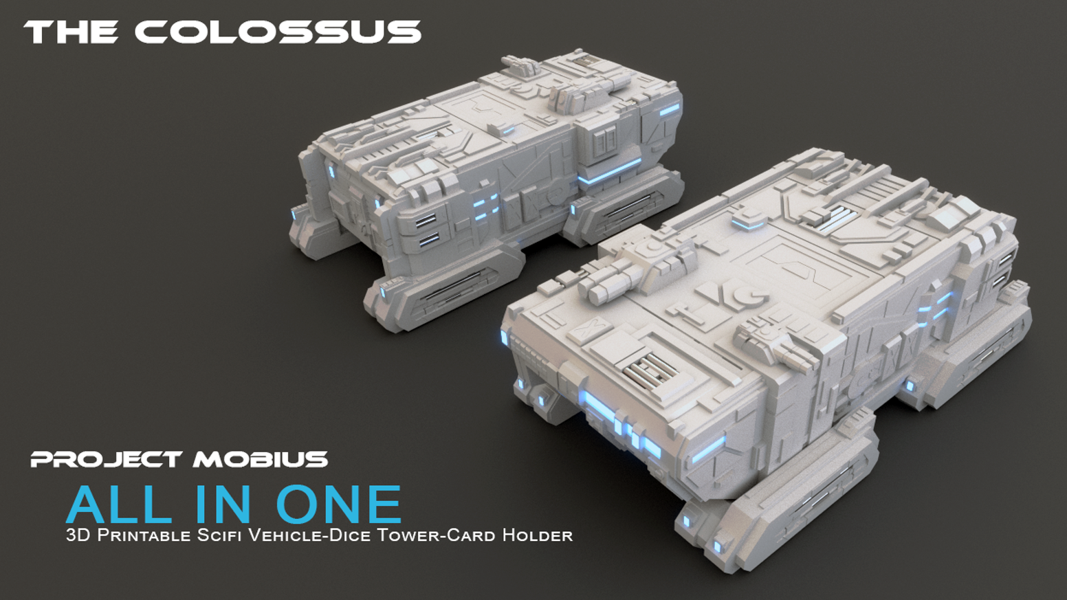 3D Printable Scifi Vehicle-Dice Tower-Card Holder All In One