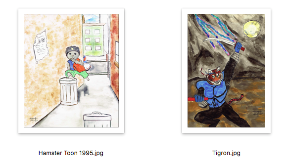 Some of my childhood drawings from the 90's that evolved into Hamster Rage