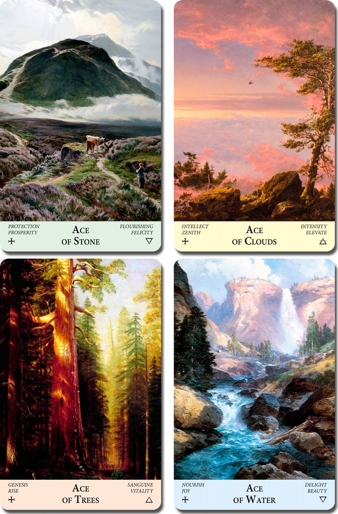 Suit of Stone (Pentacles, Earth), Suit of Clouds (Swords, Air), Suit of Trees (Wands, Fire), Suit of Water (Cups, Water)