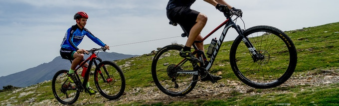 Pau and Guillem enjoying an uphill ride with TRAX!