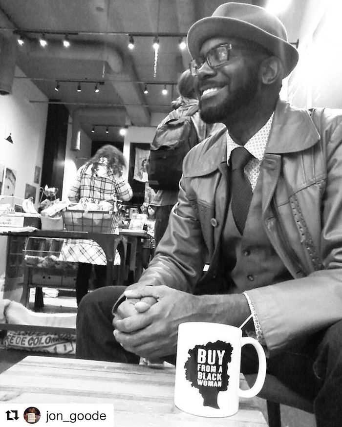 Emmy Nominated Writer, Jon Goode shares his support for Black Women Business Owners with his Buy From a Black Woman Coffee Mug