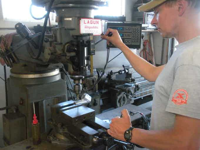 Darren fabricating the 2-piece rotating stem on his classic milling machine.