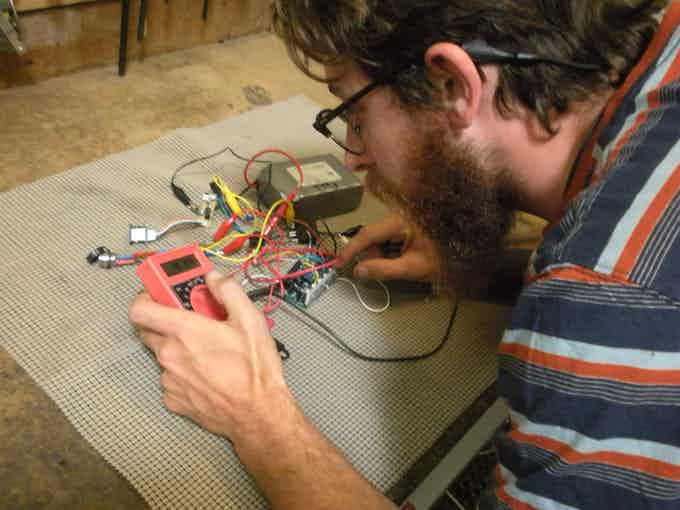 Shawn testing our proprietary brushless motor controller and supporting electronics.