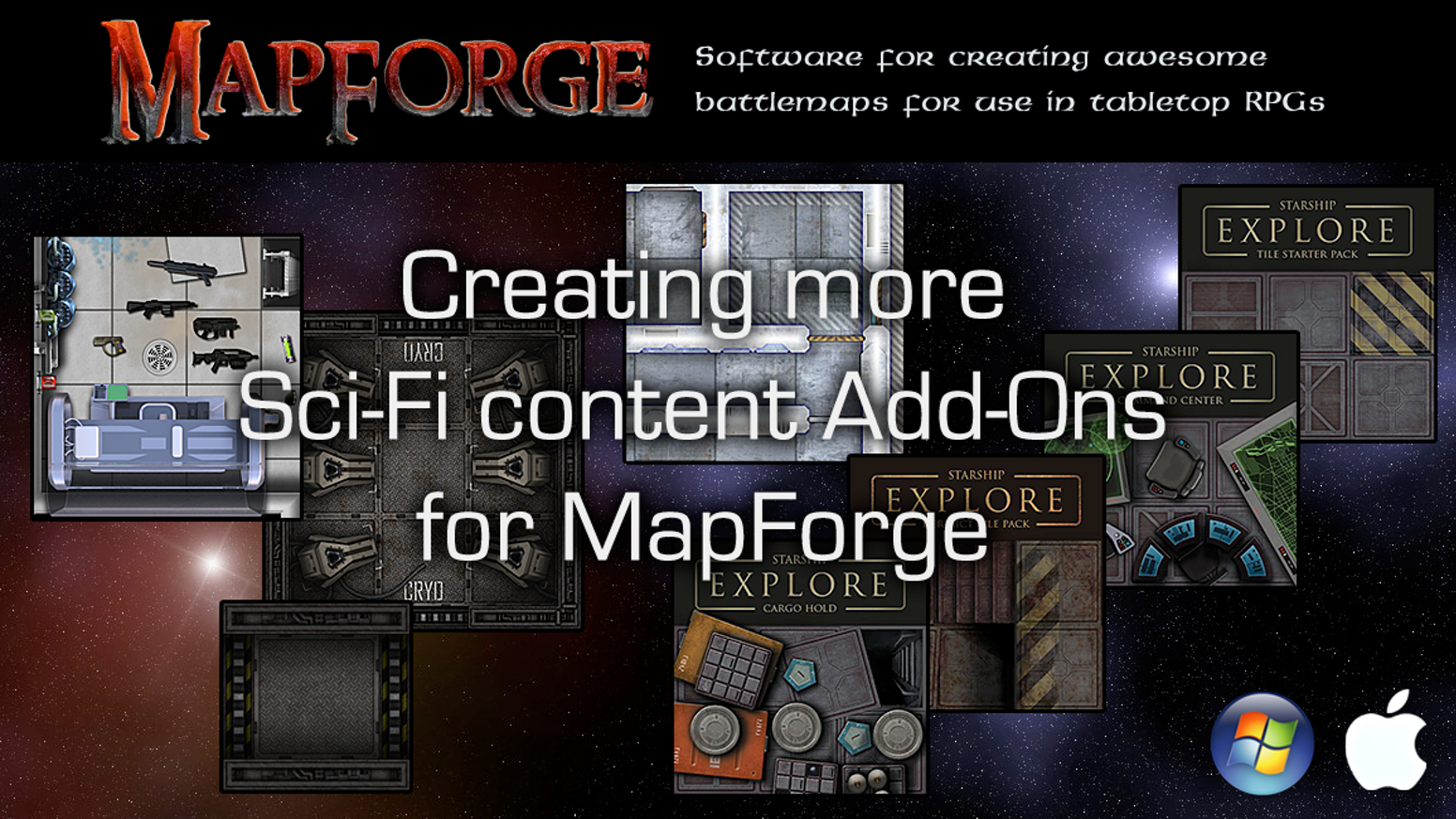 "The goal: to provide GMs of sci-fi tabletop RPGs with more mapping assets to make MapForge the ""go to"" mapping app for sci-fi RPGs."