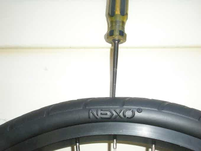 The NEXO front tire--a nitrogen-infused compound--is lighter than a standard tire and tube, but is just as cushy AND will never go flat!