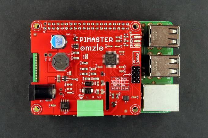 Omzlo PiMaster HAT fitted on a Raspberry Pi 3