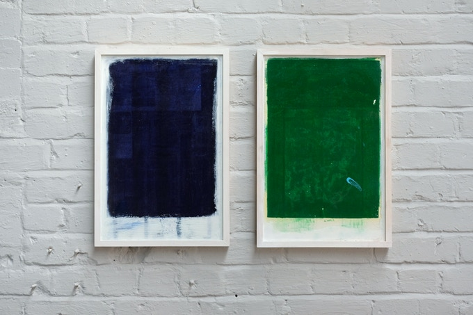 Limited edition framed set of two paintings by the Liverpool Artist Simon Job. For this work he used residue from the Risograph printing process which we use for much of our laundry design work.