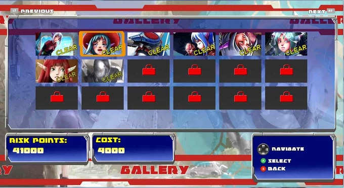 Gallery menu containing 8 artworks to unlock for the demo