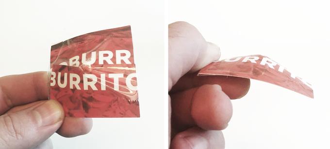 Rare photo of the Fidj burrito coupon prototype.