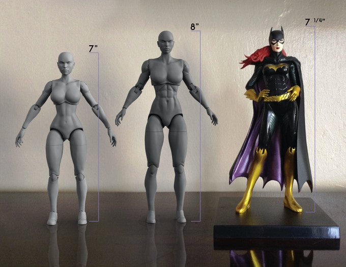 Prototype Athletic & Tall body comparison to Batgirl 1/10th ArtFX (measurement starts above base)