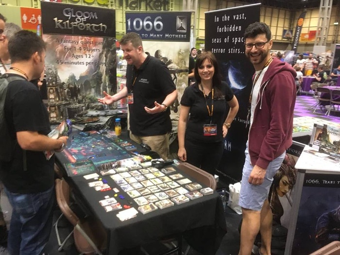 Pitching our lungs out/smiling for photies at UK Games Expo!