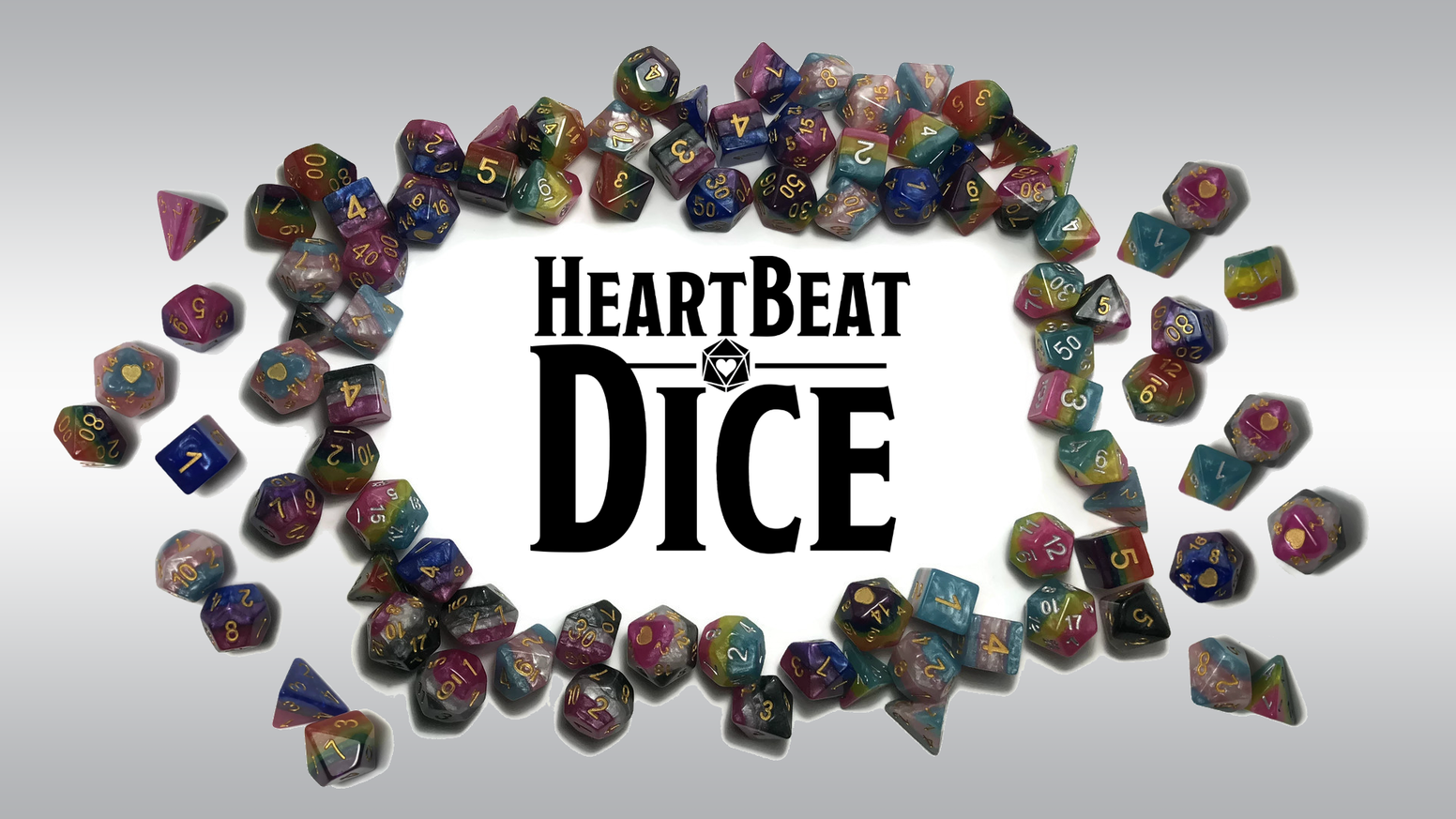 A variety of layered Pride themed polyhedral dice sets for board games & RPG games.