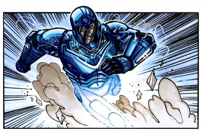 A superhero in a blue metallic armor suit, racing fast and leaving clouds of dust.
