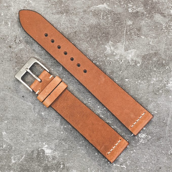Italian natural leather strap . Light Brown