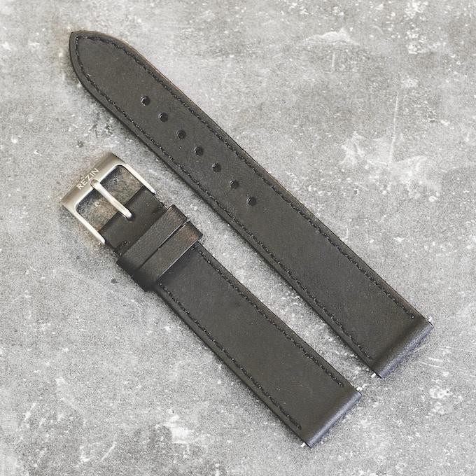 Italian natural leather strap . Black