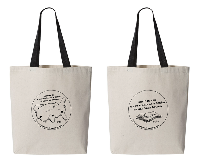 designs for the two sides of the book bag.