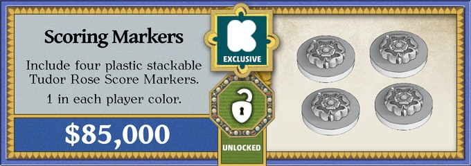 These beautiful Prestige Markers are capped with a Tudor Rose, are 16mm in diameter, and 8mm high! One in each player's color that fit on top of each other.