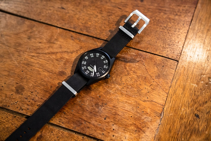 Planet 9, customised with a black leather Nato strap