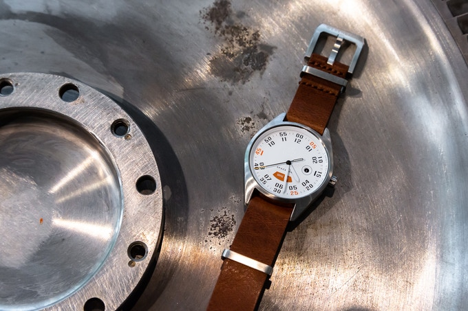 The Gravity, customised with a brown leather Nato strap