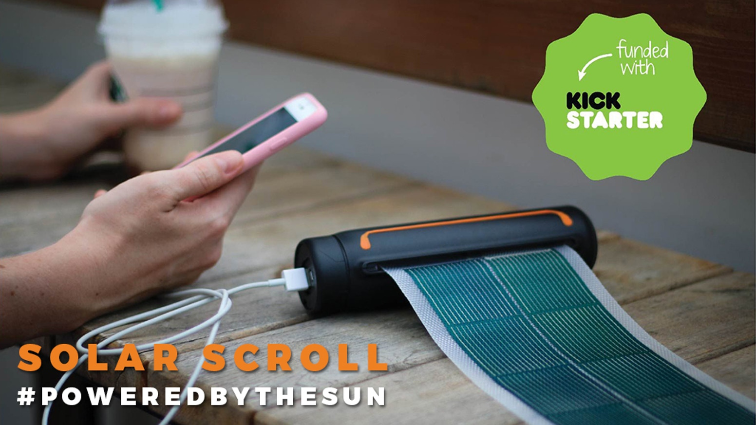Featuring a military grade rollable solar panel with an  integrated battery to charge your devices on the go.