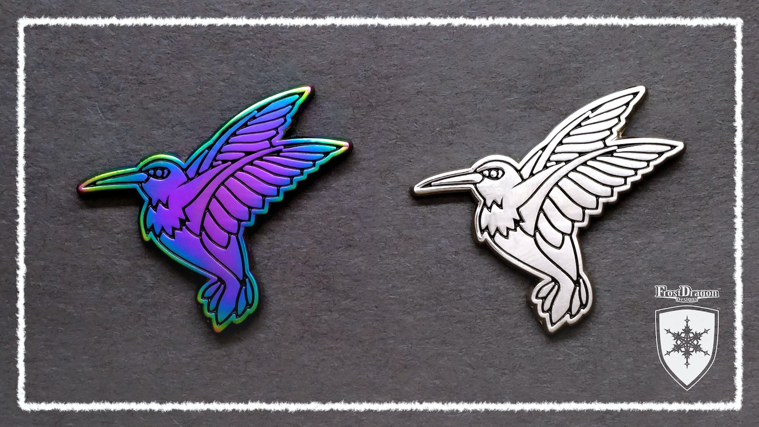 Rainbow (and Silver) Hummingbird Enamel Pins by Frost Dragon Designs