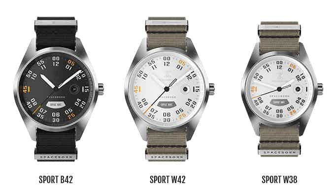 The sport collection with a plate from the rocket booster shell (grey: outside rocket surface; silver: inside rocket surface) at its heart.