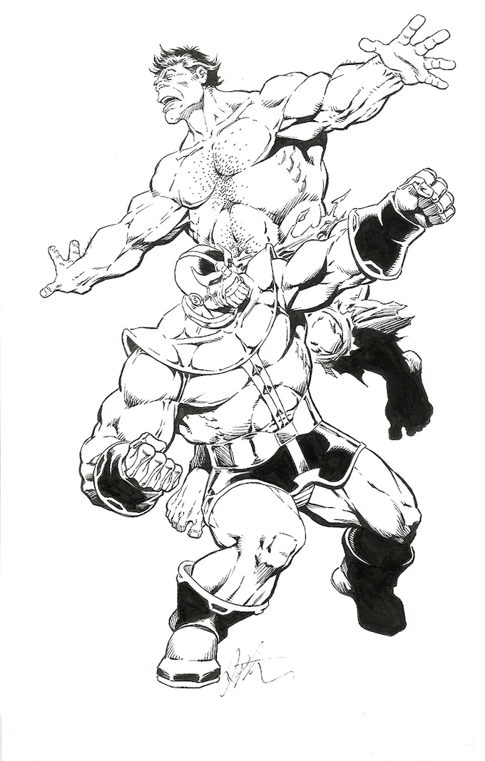 Thanos Vs. The Hulk by Jim Starlin - Original Art Reward