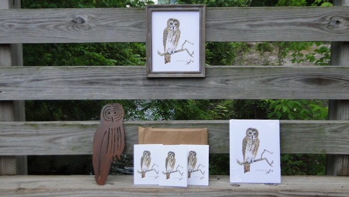 """Some of the rewards for our contributors including: Great Gray Owl Greeting Cards, 8x10"""" Great Gray Owl Print, and Great Gray Owl Sculpture in Steel with Rust Finish"""