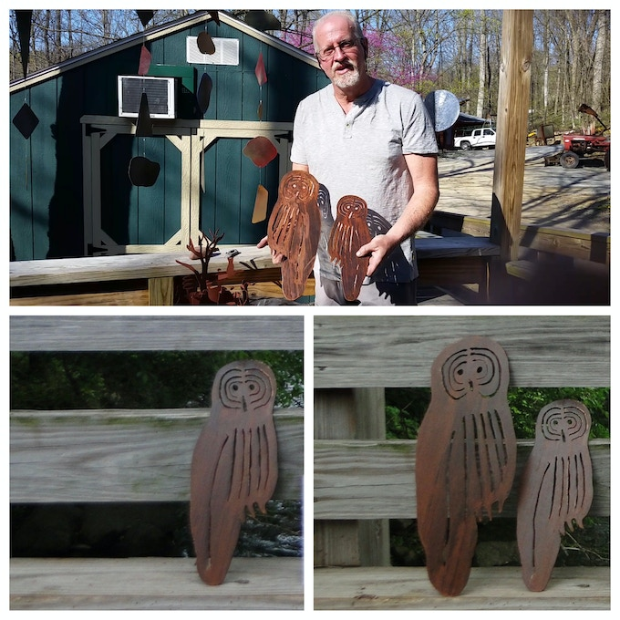 Mark Schwenk displaying his Owl Sculptures. He will create as many as we have contributors at the $500+ level!
