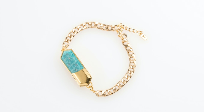 Amazonite charm on gold-plated chain bracelet
