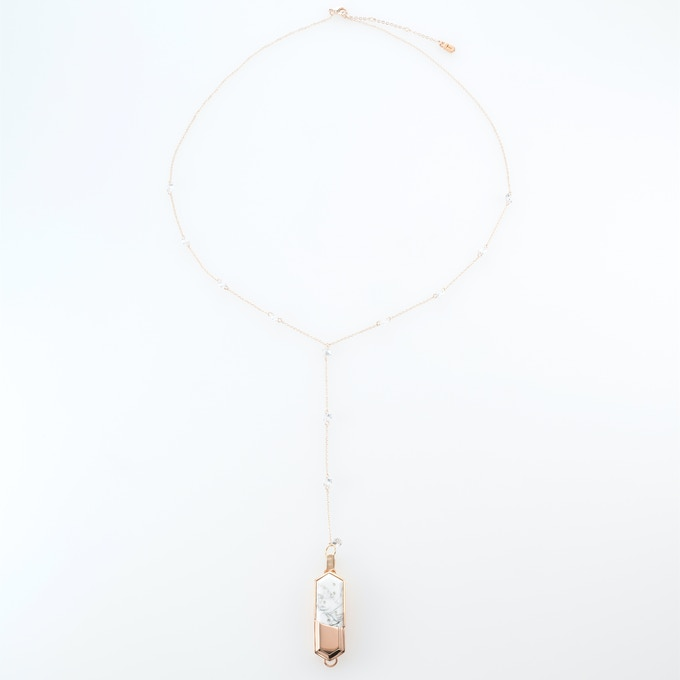 White Howlite charm on rose gold-plated necklace