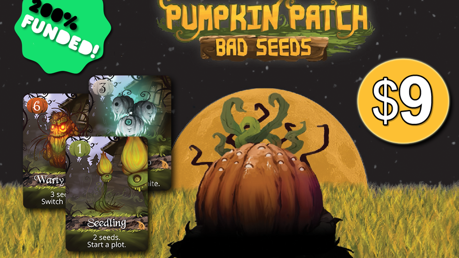 Plant spooky pumpkins while avoiding pesky crows! A quick-playing, pocket-sized, pumpkin-filled strategy game for 1-3 players.