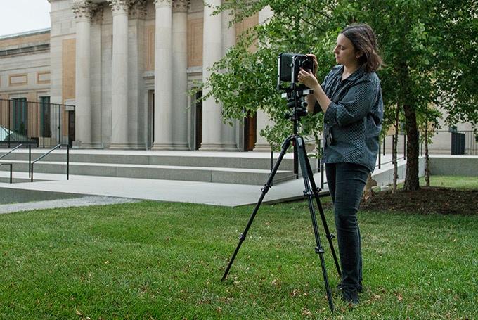 Beta tester Marissa Dembkoski preparing to make a photograph.