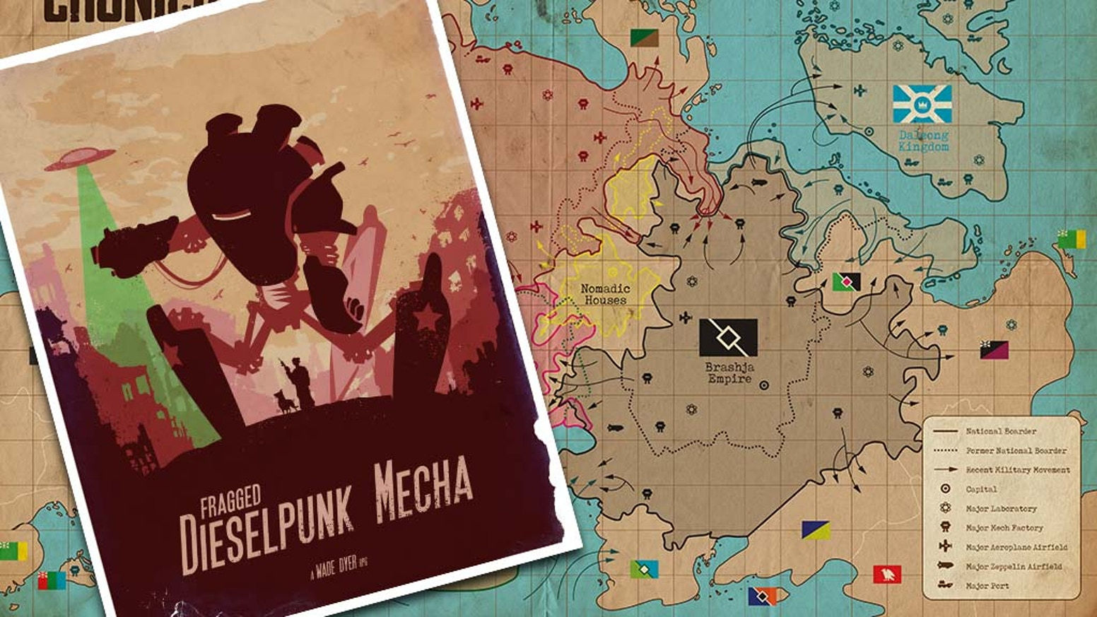Set in an alternative 1940s history, 5 nations fight for control of Cronicia using massive dieselpunk mechs, espionage & propaganda.